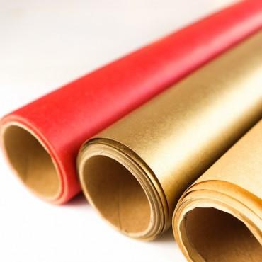 Geschenkpapier doppelseitig, rot, kraft, Rolle, 5 m