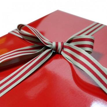 Geschenkband, Baumwolle, gestreift, Natur-rot, 2 m