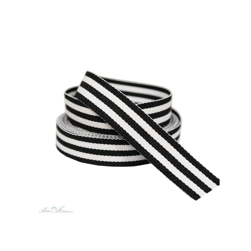 Geschenkband, Baumwolle, gestreift, schwarz-weiß, 2 m