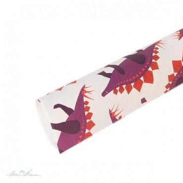 Geschenkpapier Dinosaurier, rot, lila