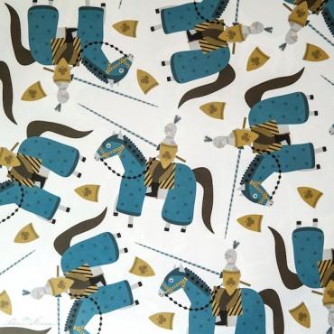 Geschenkpapier Ritter, blau, gelb