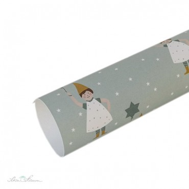 Geschenkpapier Weihnachtswichtel, mintgrün