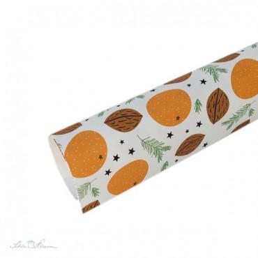 Geschenkpapier Mandarinen und Nüsse