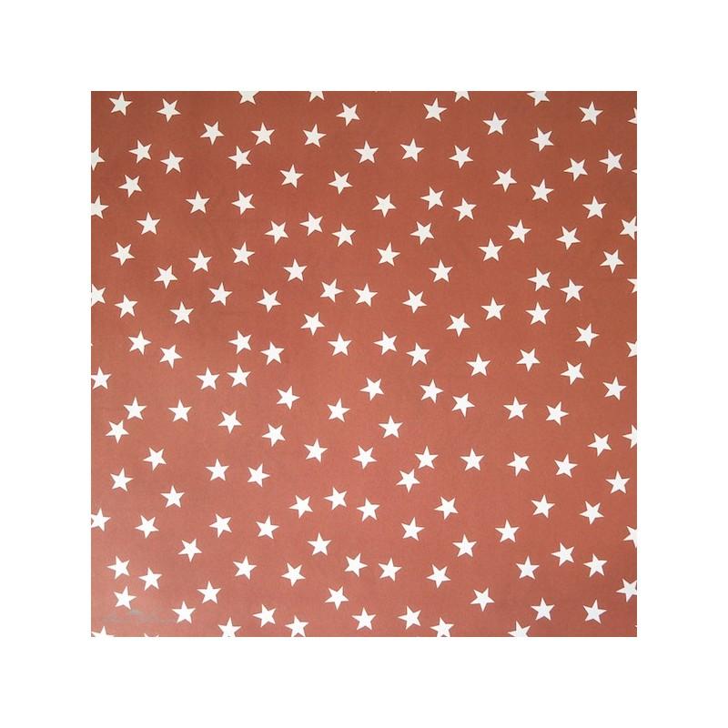 Geschenkpapier Sterne, rostrot-kupfer