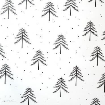 Geschenkpapier Tannen, schwarz-weiß