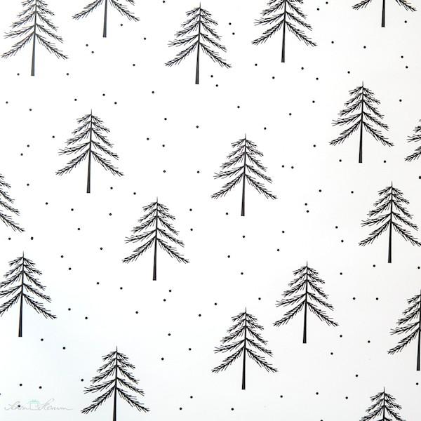 Geschenkpapier Weihnachten.Geschenkpapier Tannen Schwarz Weiß