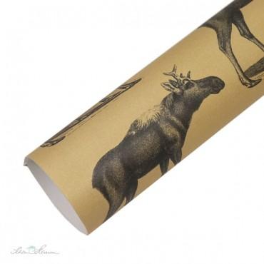 Geschenkpapier, Elch, schwarz, kraftbraun