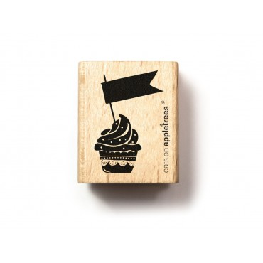 Stempel, Cupcake mit Fähnchen