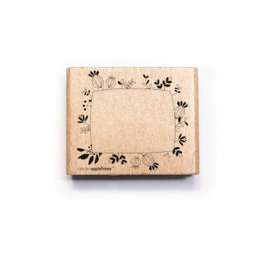 Stempel, Etikettenstempel, rechteckig, floral