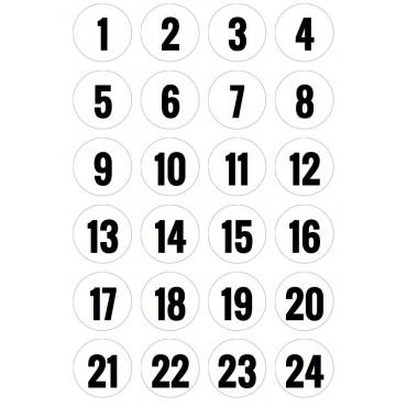 Adventskalender Zahlenaufkleber, rund 4 cm, Stempelschrift