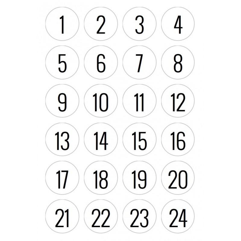 Adventskalender Zahlenaufkleber, rund 4 cm, Papier