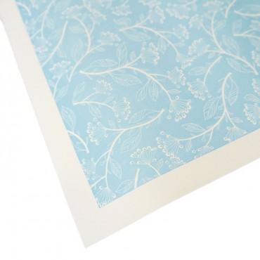 Letterpresspapier, hellblau, Blumen