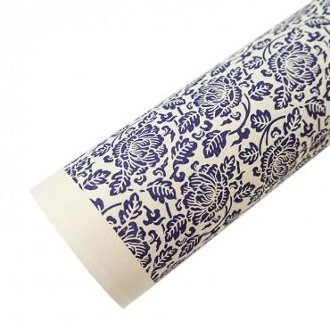 Letterpresspapier, dunkelblau, Blumen