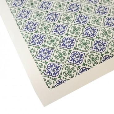 Letterpresspapier, blau-grün, venezianisches Muster