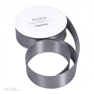 10 m Geschenkband, grau / 2.5 cm breit