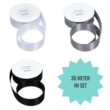 SET: 30 m Geschenkband, weiß, grau, schwarz / 2.5 cm breit