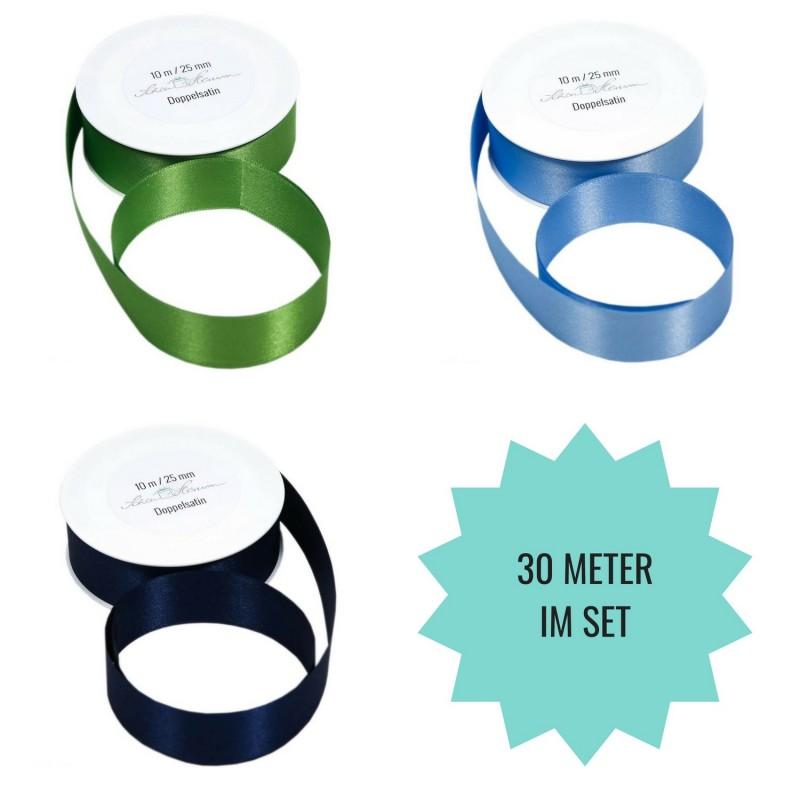 SET: 30 m Geschenkband, grün, dunkelblau, hellblau / 2.5 cm breit
