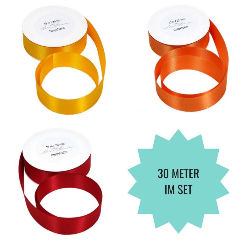 SET: 30 m Geschenkband, gelb, orange, rot, 2.5 cm breit