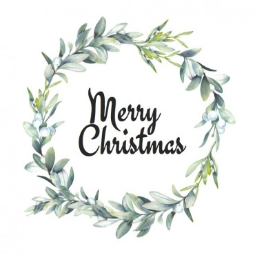 Aufkleber, Mistelkranz, Merry Christmas