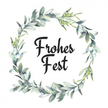 Aufkleber, Mistelkranz, Frohes Fest