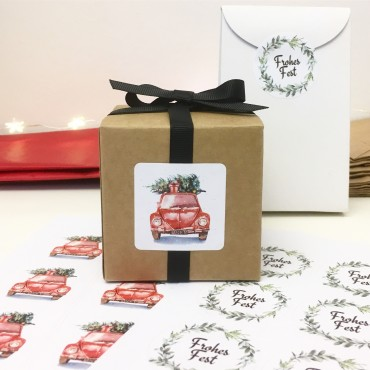 Aufkleber, Lucky Christmas Car