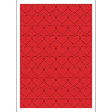 Aufkleber, rote Herzen, 60 Stück