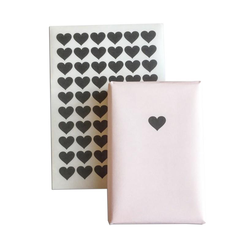 Aufkleber Schwarze Herzen 60 Stück