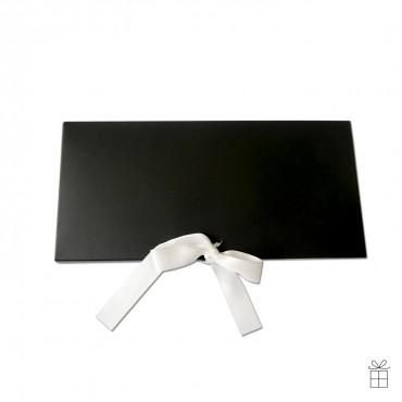 Gutscheinumschlag, schwarz mit Satinschleife in weiß