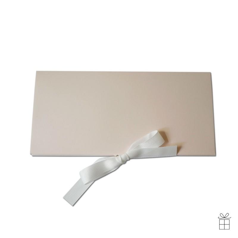 Geldumschlag / Gutscheinumschlag mit Schleife in nude-rosé