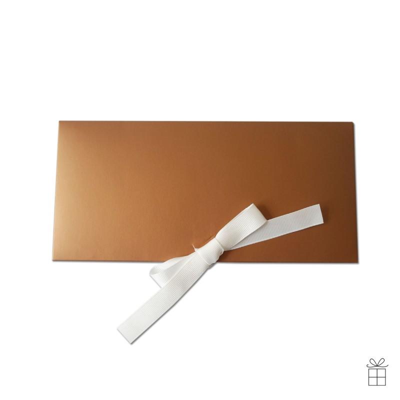 Geldumschlag / Gutscheinumschlag bronze, mit Schleife in weiß