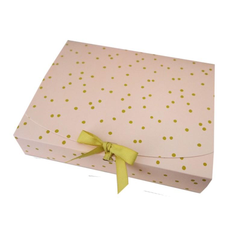 Geschenkbox apricot-rosa mit grünen Punkten und Schleife