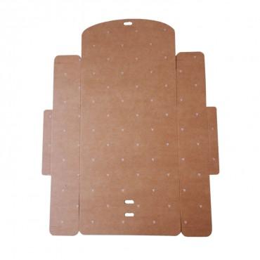 Geschenkbox mit Schleife. Kraftkarton braun mit weißen Dreiecken. 16,5 x 5 x 11,5 cm
