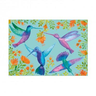 Postkarte Kolibri, mintgrün, bunt, watercolor