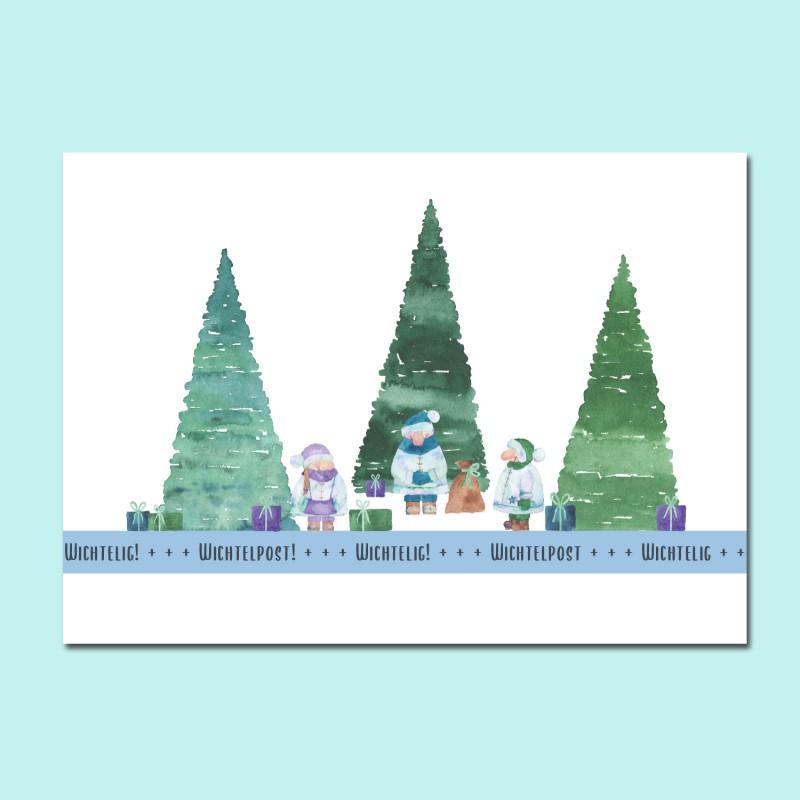 Postkarte, A6, Wichtelpost, wichtelig!, watercolor
