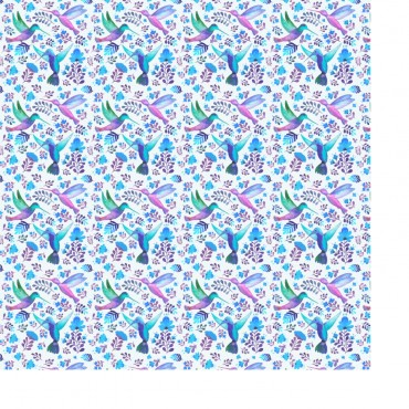 Geschenkpapier, Kolibris und blaue Blumen, 1 Bogen, 50 x 70 cm