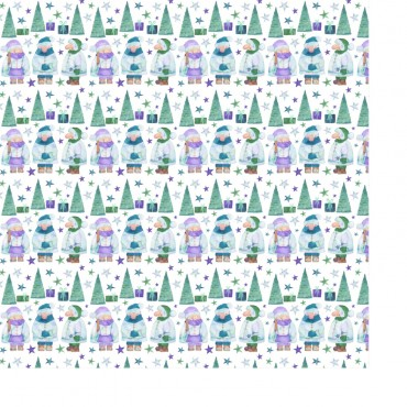 Geschenkpapier, Weihnachtswichtel, Wichtel grün, blau, lila, 1 Bogen, 50 x 70 cm