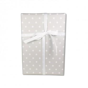 Geschenkpapier, weiße Sterne auf grau, cool & hell, 50 x 70 cm