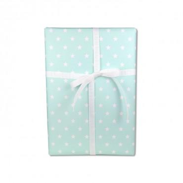Geschenkpapier, weiße Sterne auf mintgrün, frisch & zart, 50 x 70 cm