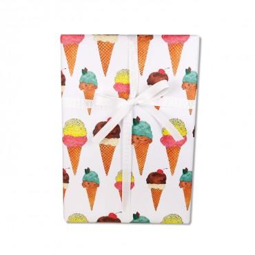 Geschenkpapier, Eis, verschieden Sorten, bunt, 50 x 70 cm, Geschenk