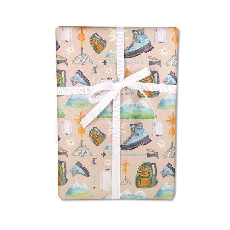 Geschenkpapier, Bergwandern, Alpin, 50 x 70 cm, Geschenk