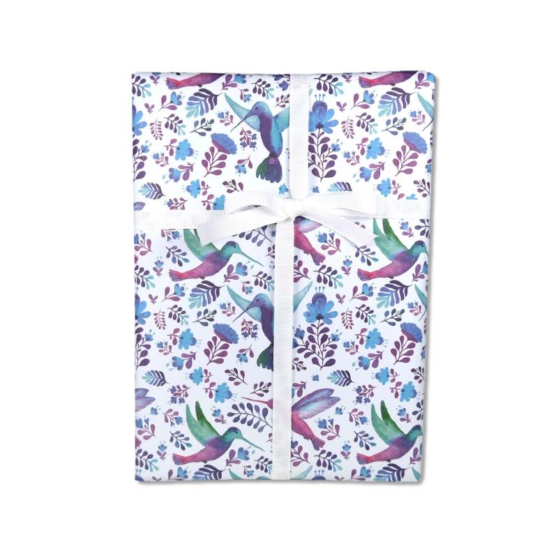 Geschenkpapier, Kolibris und blaue Blumen, 50 x 70 cm, Geschenk