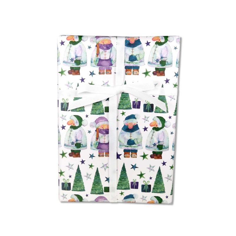Geschenkpapier, Weihnachtswichtel, Wichtel grün, blau, lila, 50 x 70 cm, Weihnachtswichtel