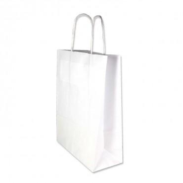 Papiertasche weiß mit Henkel aus Papierkordel, 18 cm x 24 cm x 8 cm