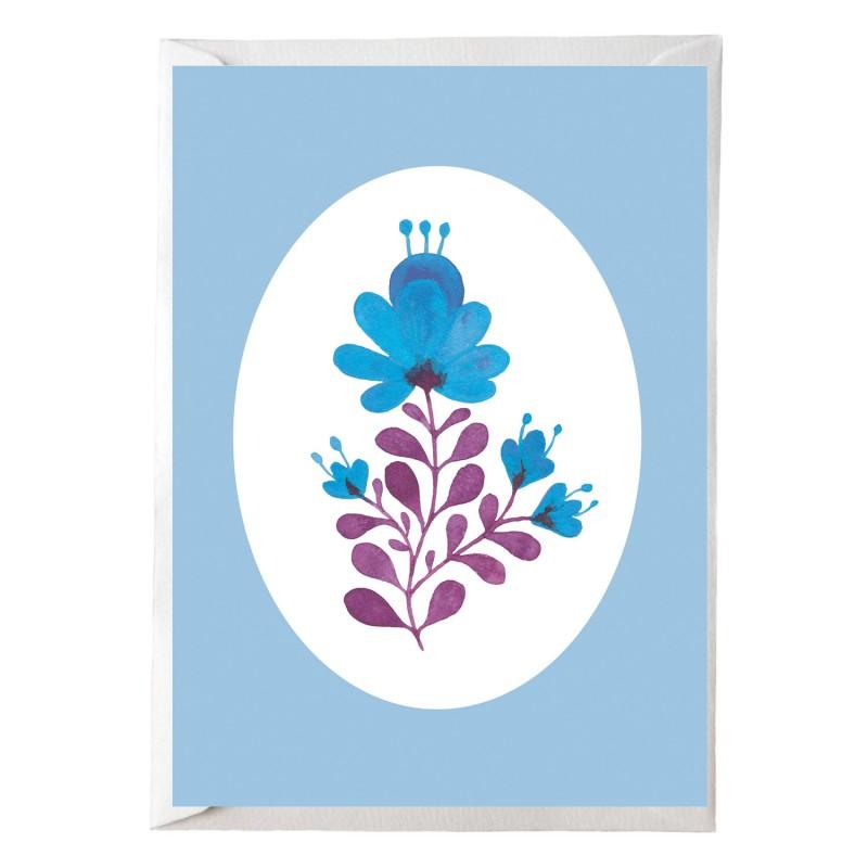 Postkarte, Blümchen blau, mit passendem Briefumschlag