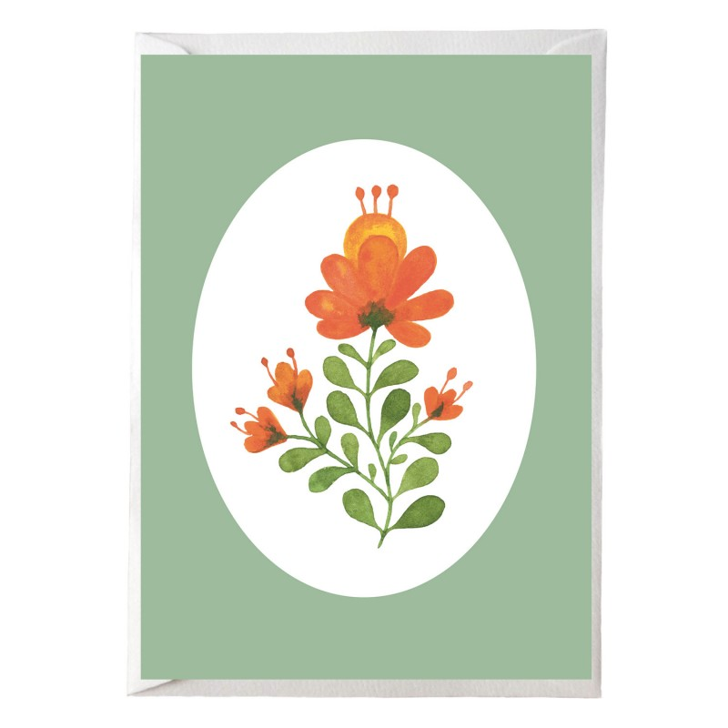 Postkarte, Blümchen orange, mit Briefumschlag