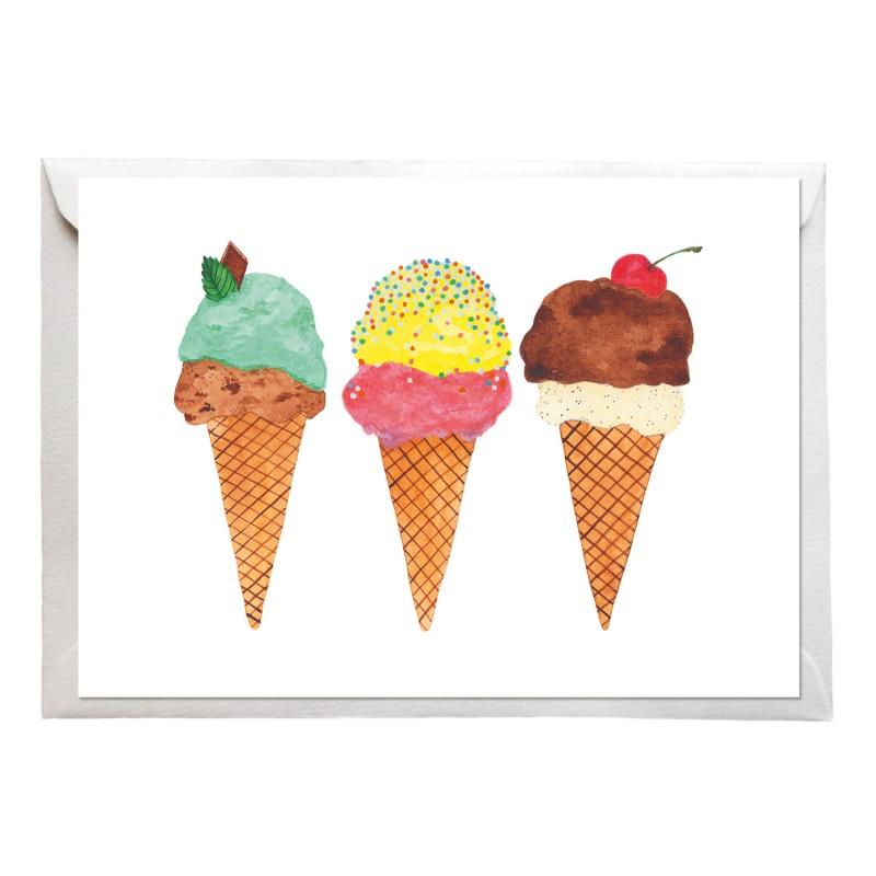Postkarte, Eis Eis Eis, mit Briefumschlag