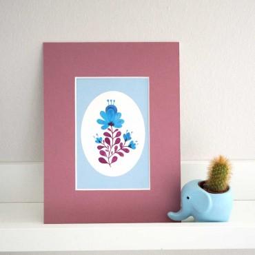 Postkarte Blümchen blau auch als Dekoration
