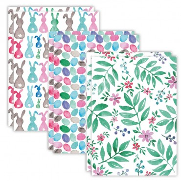 Postkarten Set, Ostern - Hasen, Eier, Blumen