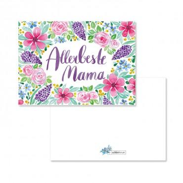 Postkarte mit Briefumschlag, Allerbeste Mama, watercolor florals