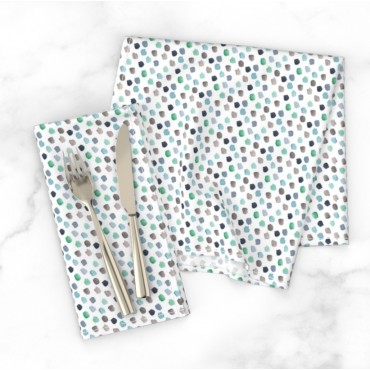 Stoff Servietten, Punkte, watercolor blau grün grau